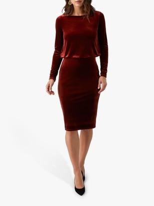 Pure Collection Jersey Blouson Velour Dress, Rust
