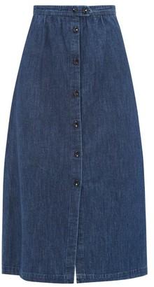 A.P.C. Buttoned Denim Midi Skirt - Womens - Denim
