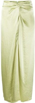 Nanushka Samara satin midi skirt