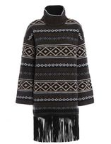 Fay Fringed Poncho With Sleeves