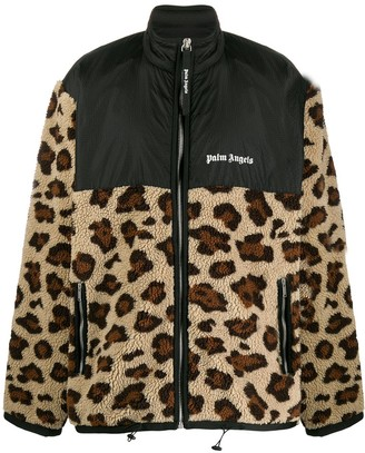 Palm Angels Animal Print Zip-Up Jacket