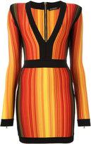 Balmain striped fitted cocktail dress - women - Polyamide/Spandex/Elastane/Viscose - 38