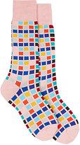 Paul Smith Men's Tile Cotton-Blend Mid-Calf Socks-PINK