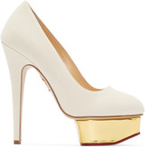Charlotte Olympia Off-White Canvas Dolly Heels