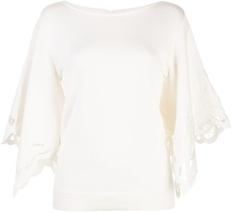 Oscar de la Renta Floral Cut-Out Blouse