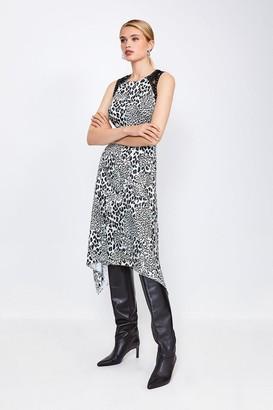 Karen Millen Animal Print Midi Dress With Lace And Stud Trim