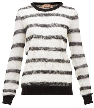 No.21 No. 21 - Chantilly-lace And Mohair-blend Sweater - Black White