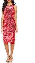 Maggy London Lace Over Sleeveless Gingham Sheath Dress