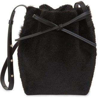 Mansur Gavriel Shearling Mini Bucket Bag - Black