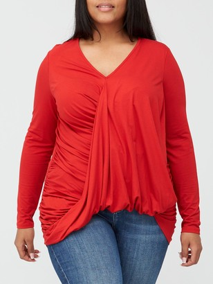 V By Very Curve Drape Wrap Dipped Hem Jersey Top - Red