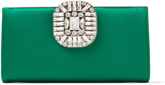 Jimmy Choo LEONIS Emerald Satin Clutch Bag with Crystal Clasp