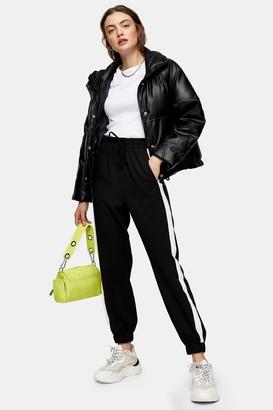 Topshop Womens Black And White Side Stripe Joggers - Monochrome
