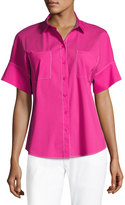 Lafayette 148 New York Rosalia Topstitch Button Blouse, Pink