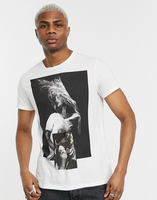 Religion graphic print t-shirt with back logo in white