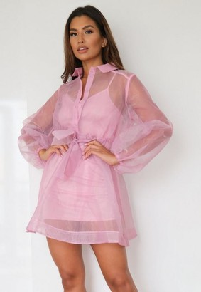 Missguided Petite Pink Organza Long Sleeve Skater Shirt Dress