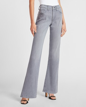 Express Mid Rise Gray Bootcut Jeans