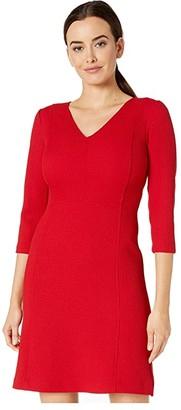 Lauren Ralph Lauren Petite Fit-and-Flare Dress (Parlor Red) Women's Dress