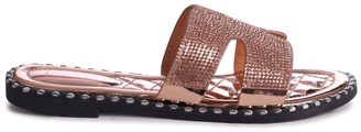Linzi GAL - Rose Gold All Over Diamante Slip On Slider With Studded Trim