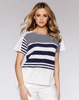 Quiz Crepe Stripe Cap Sleeve Tail Hem Top