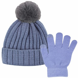 Teddyts Ladies Fluffy Knit Bobble Hat & Touchscreen Gloves Thermal Winter Set (Flint Grey & Periwinkle)