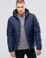 Blend Hooded Quilted Jacket Navy