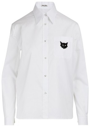 Miu Miu Cats patch shirt