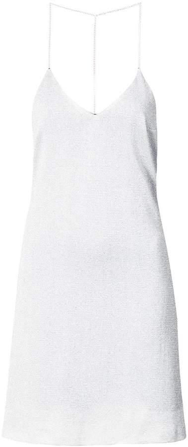 Amiri T-back metallic knitted slip dress