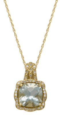 Lord & Taylor 14Kt. Yellow Gold, Green Amethyst & Diamond Pendant Necklace