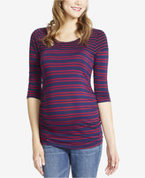 Jessica Simpson Maternity Striped Boat-Neck Top