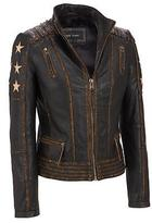 Black Rivet Womens Distressed Stars And Stripes Center Zip Leather Jacket