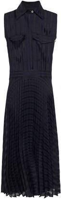 Victoria Victoria Beckham Pleated Gauze-jacquard Midi Shirt Dress