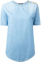 Balmain buttoned shoulder denim T-shirt - women - Cotton - 36