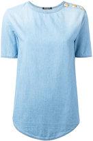 Balmain buttoned shoulder denim T-shirt