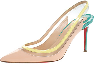 Christian Louboutin Tricolor PVC And Patent Leather Paulina Pointed Toe Slingback Sandals Size 38