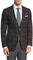 Isaia Donegal Windowpane Two-Button Sport Coat, Charcoal