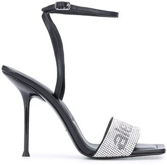 Alexander Wang Crystal Strap Logo sandals