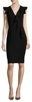 Versace Ruffle Cap Sleeve Sheath Dress