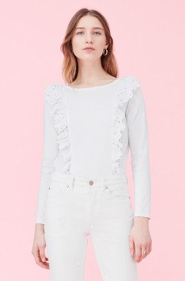 Rebecca Taylor La Vie Embroidered Clean Jersey Top