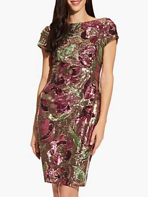 Adrianna Papell Floral Sequin Dress, Plum