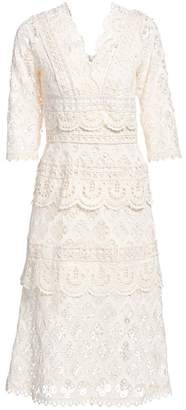 Sea Laurel Lace Tiered Midi Dress
