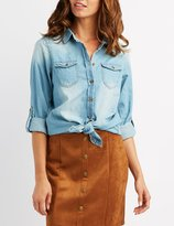 Charlotte Russe Chambray Button-Up Tunic Top