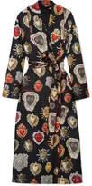 Dolce & Gabbana Printed Silk-twill Robe - Black