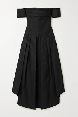 KHAITE Amanda Off-the-shoulder Gathered Cotton-twill Midi Dress - Black