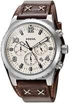 Fossil Mens CH3068 Oakman Chronograph Dark Brown Leather Watch