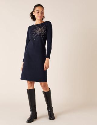 Monsoon Starburst Heat-Seal Gem Knit Dress Blue