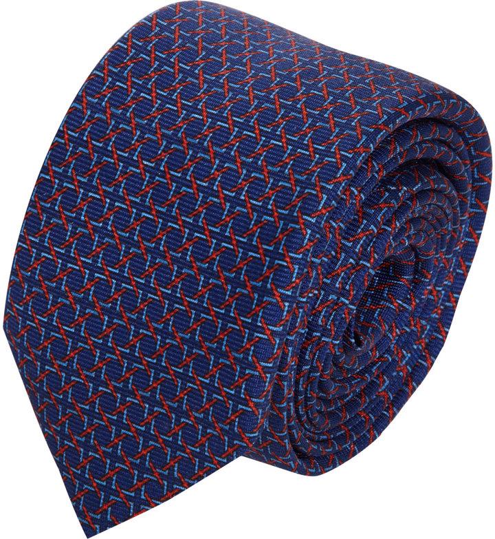 Barneys New York Woven Chainlink Print Tie