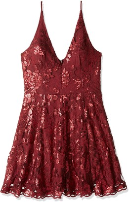 Dress the Population Women's Morgan FIT and Flare Sleeveless LACE Party Dress