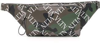 Valentino Men's Camo-Pattern Logo-Print Leather Belt Bag