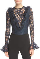 Alexis Pollie Long-Sleeve Lace Bodysuit w/ Ruffled Frills