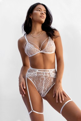 Nasty Gal Womens Lace is More Strappy 3-Pc Lingerie Set - White - L